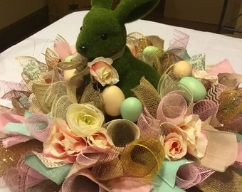 Ready to Ship Green Moss Easter Bunny Centerpiece , Deco Mesh Easter Centerpiece , Easter Bunny Candle Ring , Table Wreath