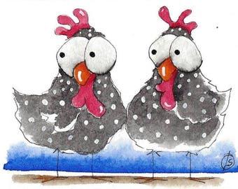 ACEO Original watercolor Chicken - Friends