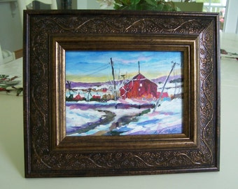 Ice Storm.........5x7 orignal painting on board, framed........free shipping
