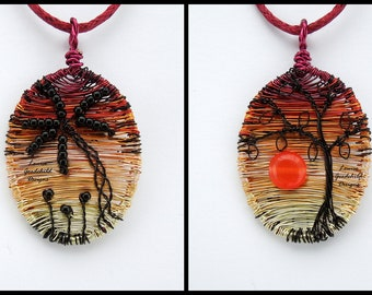 Reversible wire pendant, wire tree pendant, sunset pendant, two scenes in one, palm tree pendant, double sided pendant, nature inspired