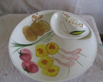 Chips and Dip bowl Pottery Vegetable Decor