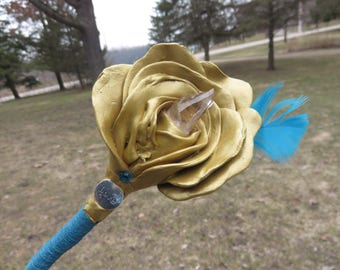 Handmade wood wand with Gold Rose and a Quartz point