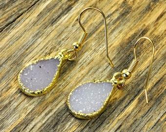 Holiday SALE - Druzy Earrings, Druzy Gold Earrings, Druzy Jewelry, Druzy Pendant Earrings, Druzy Gold Earrings, Druzy Stone, 14k Gold Fil...