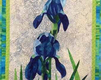 Blue Irises Original Fiber Art by Lenore Crawford