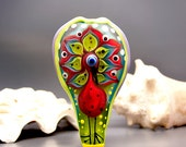 HeavensPeacock - Lampwork focal bead - signature design by Michou P. Anderson