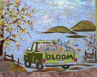 PAPER PATTERN for a COLLAGE style Pick Me Up Blooms Wall Quilt Spring Flowers Green Vintage Truck Farm Tula Pink Slow and Steady Grunge