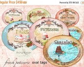 SALE 70% OFF - French Patisserie Ovals - Digital Collage Slides  - Digital Collage Tags - Collage Patisserie ovals