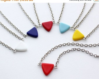 40% OFF SALE Tiny Triangle Chevron Necklace. You Choose Color. Gift for her under 25 usd.