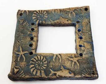 Pottery for Weaving Window rectangular loom style, Under the Sea, Ammonites, Nautilus, Starfish, Shark