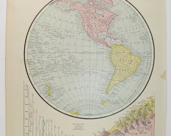 1888 Western Hemisphere Map, Antique World Map, Vintage Map World Globe, Wanderlust Gift, Map Art Gift for Traveler, Old Color Map of World