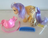 My Little Pony Lemon Drop with Accessories and Brandy the Dog Vintage Hasbro MLP