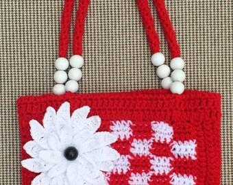 Handmade Crochet Handbag, Crochet Purse, Crochet Bag, Girl Crochet Purse, Girl Gift, Flower Crochet Purse, Handbag, Handmade Purse