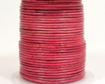 1mm Round Indian Leather - Natural Cerise - DC6