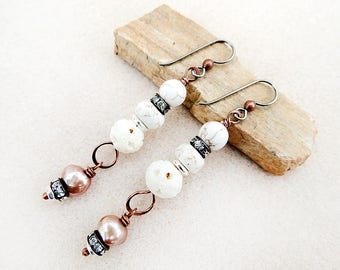 Copper and Cream, Earrings, Howlite, Carved Bone, Pure Copper, Pearl, Rhinestones, Niobium Earrings, Handmade, Gift for Her, Gift for Woman