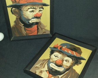 Paint By Number Clowns Set of 2 Completed / PBN Sad Clowns / 1960s Paint By Number Hobo Clowns / Mid Century Modern Circus Portraits