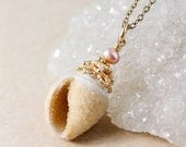 EASTER SALE Golden Druzy Seashell & Pearl Necklace - Choose Your Pendant - 14KT Gf
