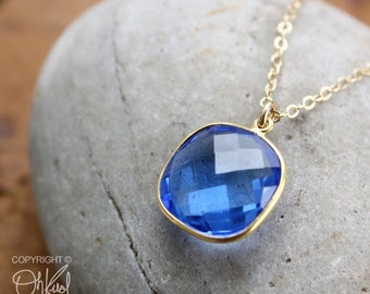 CHRISTMAS SALE Swiss Blue Quartz Cushion Cut Necklace - 14kt gold fill