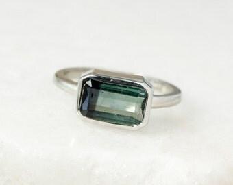 Bi-Color Teal Green and Black Tourmaline Ring - Emerald Cut Tourmaline - Silver
