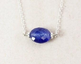 VALENTINE SALE Blue Sapphire Quartz Necklace - 925 Sterling Silver