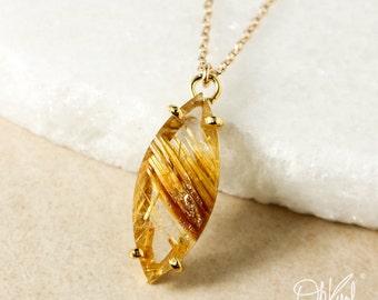 Natural Golden Rutile Quartz Leaf Pendant Necklace – Select Your Pendant