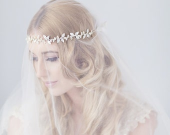Woodland bridal halo headdress