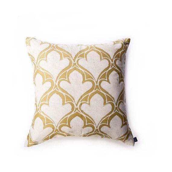 pillow, yellow pillow, boho chic throw pillows, 18in pillow, cushion block printed toss Pillow wholesale home cotton - DIYA PILLOW COVER