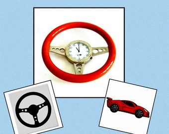 Desk Clock - Steering Wheel - Wood - Metal - Speedometer - Racing - Nascar - Foreign Car - Paperweight - Car Lover - Retro -Recycled - 1990s