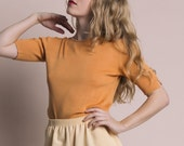 Vintage 90s Peach Silk Knit Short Sleeve Top | S