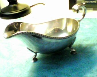 Vintage Silver 3 Legged Sauce Boat, Antique, Shell signature, OLD.