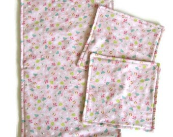 Baby Washcloths and Burp Cloth Set, Baby Wipes, Pink, Girl Baby Gift,  Baby Shower Gift, Reversible Flannel,  2 Ply, Double Sided, Floral