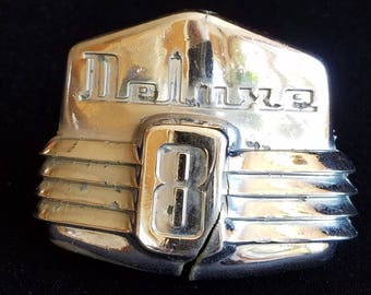 Ford Deluxe 8 Hood Ornament, 47 48 Ford Emblem, Vintage Chrome Hood Ornament, 1948 Ford Chrome, 1947 Deluxe 8,  Collectible For Ford Junkies