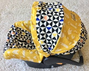 Geo Infant Car Seat Cover, Gold Baby Car Seat Cover, Gold Arrows Baby Seat Cover, Baby Car Seat Covers, Infant Covers