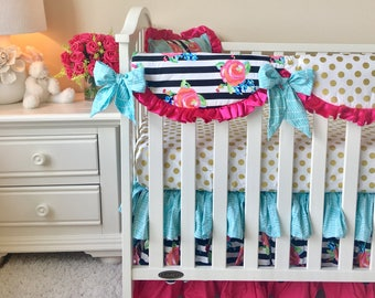 Hot Pink Baby Bedding, Watercolor Floral Crib Bedding, Gold Dot Baby Bedding, 3pc Crib Bedding, Aqua Crib Bedding, Watercolor Baby Bedding