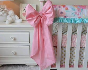 Large Crib Bows Candy Pink, Candy Pink Crib Bows