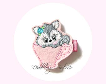 Kitty In Teacup Hair Clip, Gray Cat Hair Clip, Teacup Kitty Clip,  Animal Hair Clip, Felt Hair Clips, Hair Clips For Girl, Toddler Clips