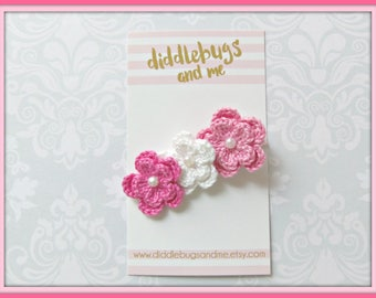 Pink And White Crochet Flowers Hair Clip, Crochet Flower Hair Clip, Girls Flower Hair Clips, Pinks Crochet Flower Hair Clips, Summer Clilps