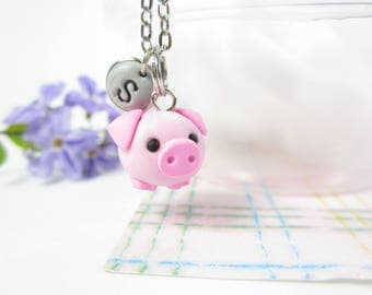 Pig necklace, pig jewelry, Initial necklace, personalized necklace,  jewelry, cute unique gift, piggies necklace, pet lover gift piglet cute