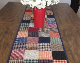Extra Long Homespun Plaids Quilted Table Runner