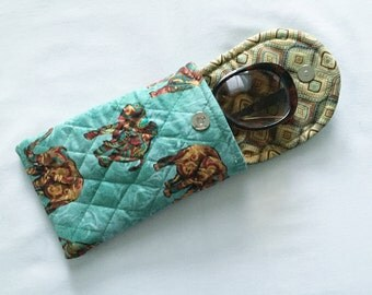 Iphone 6 Plus Glasses Case Combo Quilted Animal Print Elephants Brown Turquoise
