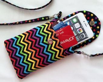 Iphone 6 Case Gadget Case Detachable Neck Strap Chevron Print Bright Primary Colors