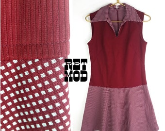 Vintage 70s Maroon & White Dots Scooter Dress with Collar!