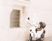 Italy Photograph, White Scooter, Rome Art Prints, Neutral Wall Art, Travel photography, Roma, Italia, Orange, White wall decor, Rome