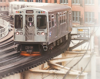 Chicago CTA, train photography, Loop train, Chicago Wall Art Print, El train, creme, orange, blue, Brown Line, playroom, boys room decor