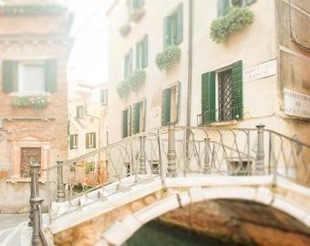 Venice Photograph, Wall Art Print, Ponte Dei Carmini, Italy Decor - Photos of Venice Canals, golden tones, light beige, neutral home decor