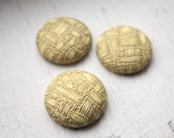 4 Large Flat back Cabochon Buttons 1950s // 28mm // Pale Yellow & Gold
