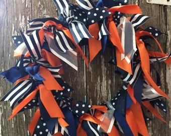 Ribbon Wreath Navy Blue Orange Door Wreath