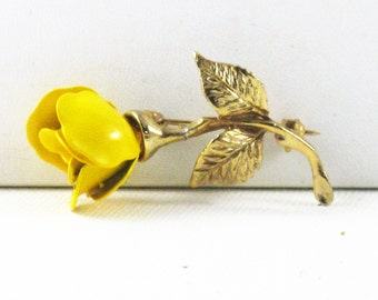 Vintage Yellow Enameled Floral Rose Brooch Pin (B-2-4)