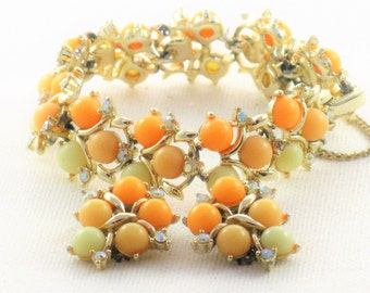 Vintage Orange and Yellow Bracelet and Earrings Demi Parure Set (BR-4-1)