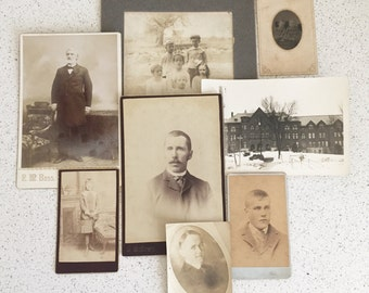 Vintage Black and White Sepia Family Photos Set of 8