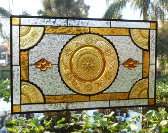 Stained Glass Window Panel, Vintage Amber Tiara Sandwich Glass Plates, Stained Glass Transom Window, Handmade Antique Glass Window Valance